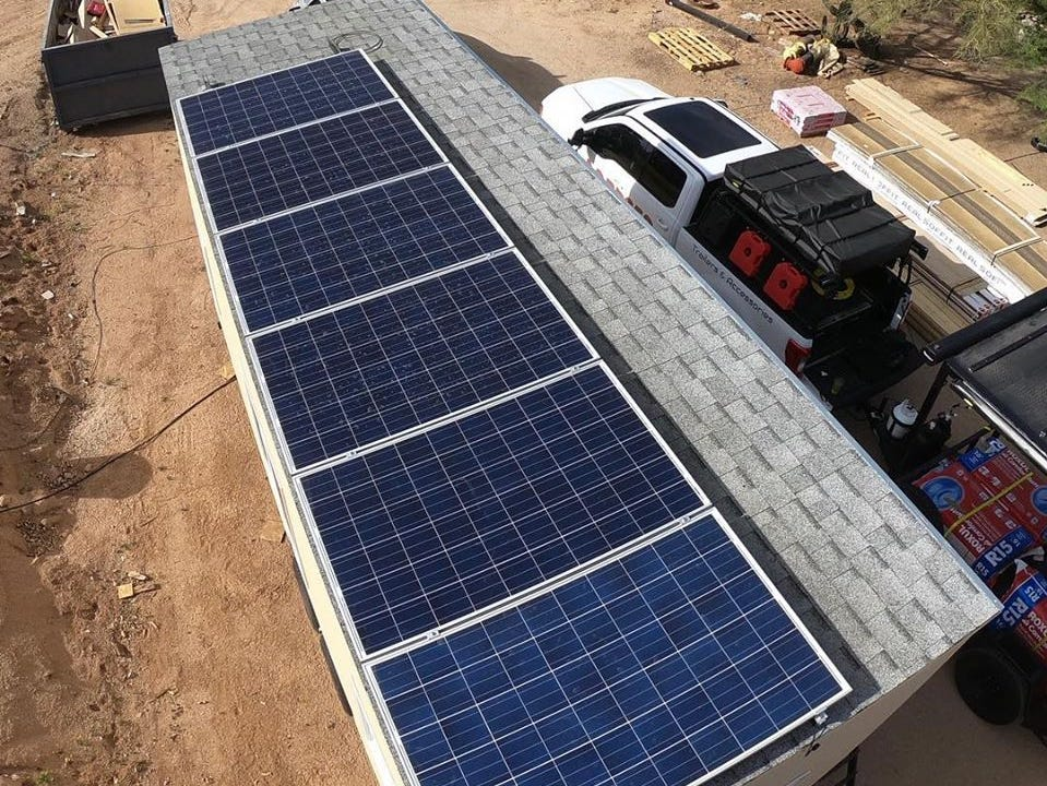 The solar panels that give the tiny home its power.