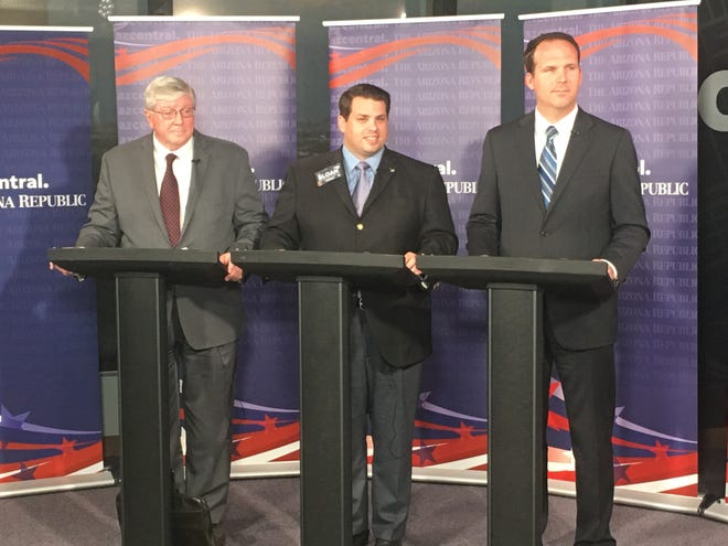 Arizona Corporation Commission Republican candidates Jim O'Connor, Eric Sloan and Justin Olson debate in the azcentral studio on Aug. 14, 2018.