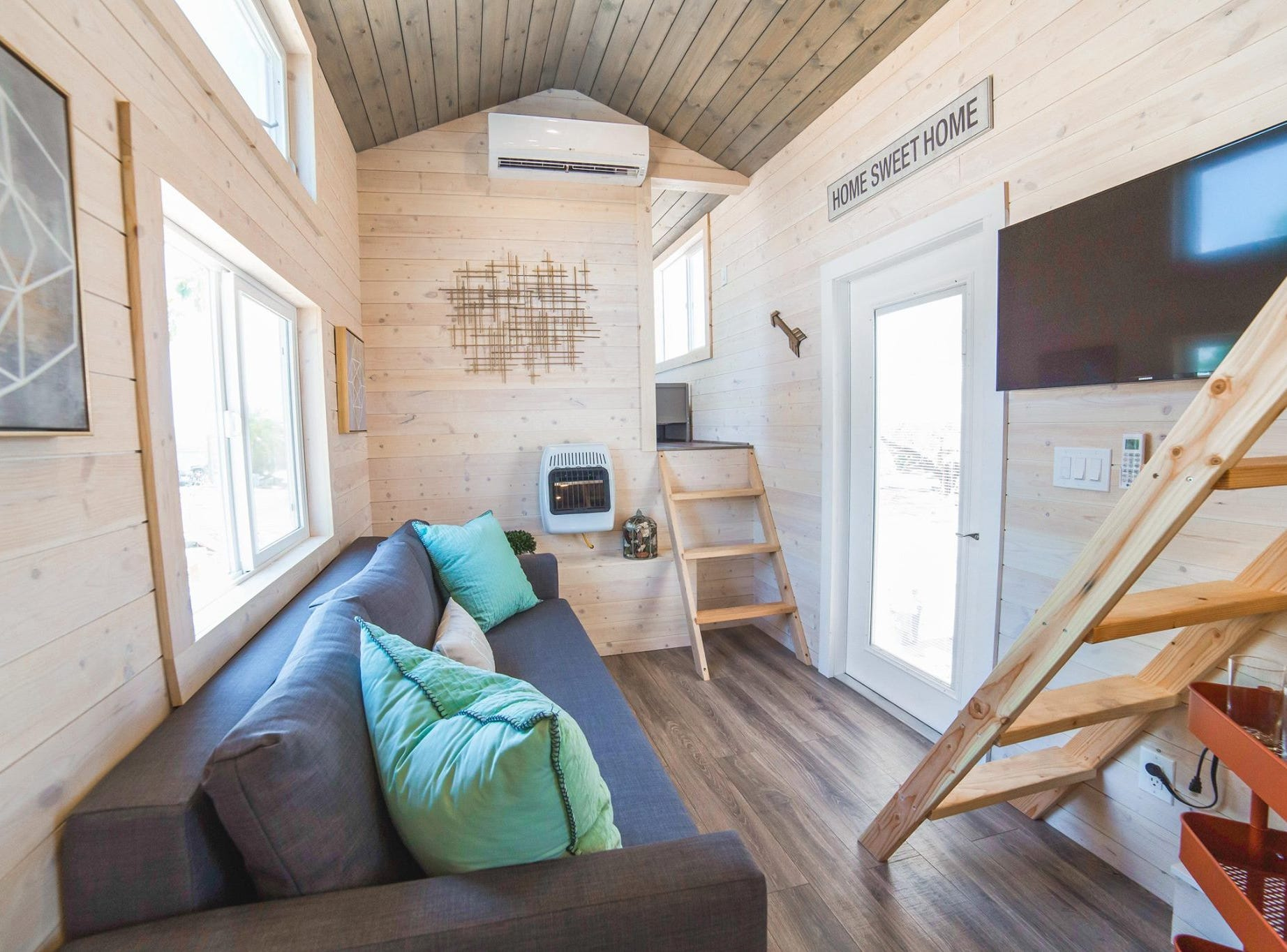Another view of the tiny home's living room.