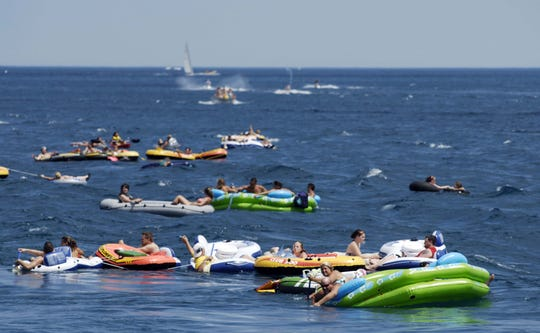 Participants float down the St. Clair River in 2010 float down.