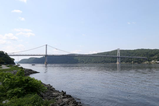 The Mid-Hudson Bridge and Hudson River from Victor C. Waryas Park in the City of Poughkeepsie on August 15 2018.