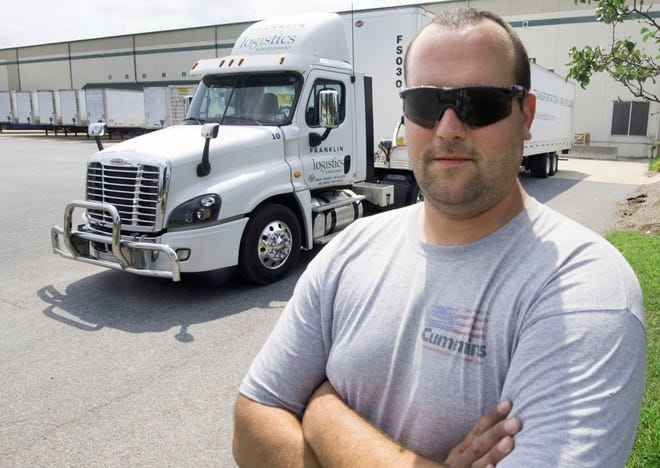 Zachary Black, a driver at Franklin Logistics and Development, Chambersburg,  inspects his truck befoer hitting the road. There is a nationawide trucker shortage and thst could affect the time it takes goods to reach shelves.