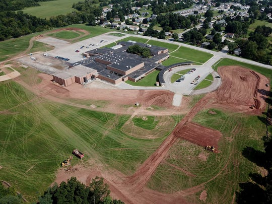 Dover Area School District officially broke ground on a new high school Wednesday, to be located in the area of the current Intermediate School, Thursday, August 15, 2018.  John A. Pavoncello photo