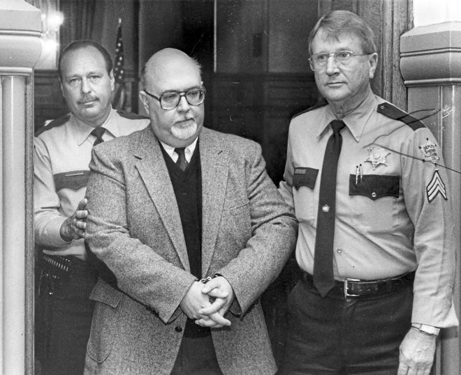 The Rev. Robert Wolk, a Roman Catholic priest, is led from the courtroom by deputies after receiving a 5- to 10-year sentence from Judge George Ross for child molestation on April 3, 1990. Wolk voluntarily left the priesthood.