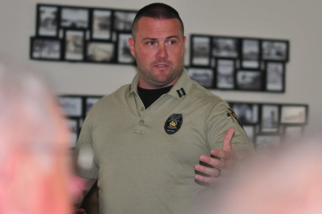 Capt. John Pawelski Jr. instructs residents on the Run, Hide, Fight protocol for an active-shooter situation during Tuesday's training in Fountain City.