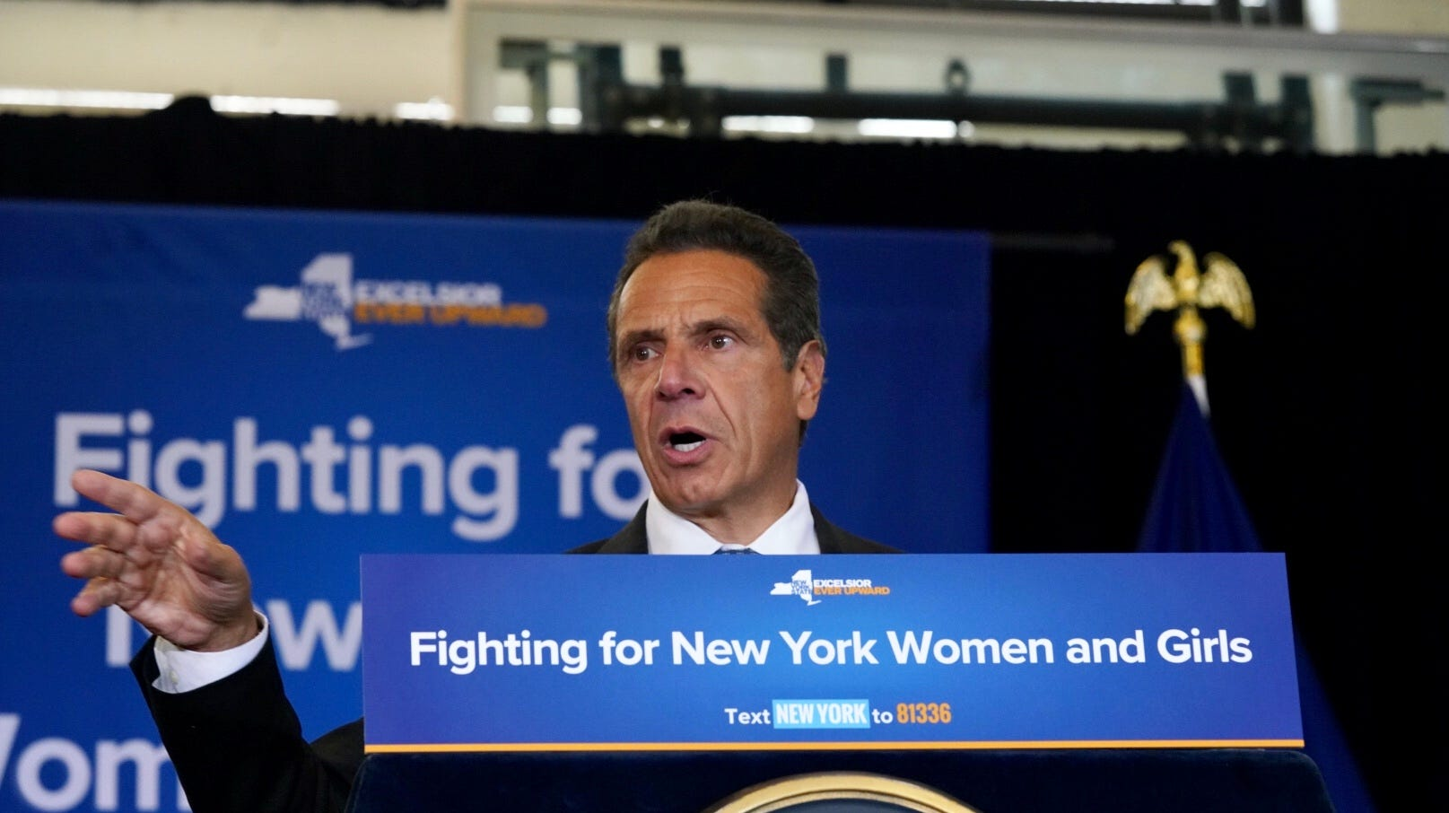 """Gov. Andrew Cuomo spoke Wednesday, Aug. 15, 2018, at a bill signing in Manhattan to make it a felony to engage in sex trafficking. He was criticized for comments that America """"was never great."""""""