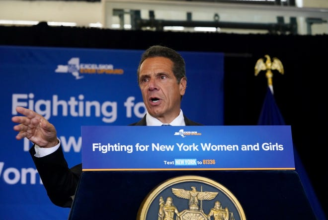 "Gov. Andrew Cuomo spoke Wednesday, Aug. 15, 2018, at a bill signing in Manhattan to make it a felony to engage in sex trafficking. He was criticized for comments that America ""was never great."""