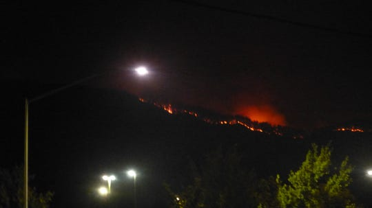 The burn operations from the Carr Fire were visible Tuesday night.