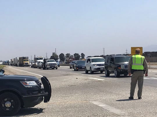 Traffic is backed up along Highway 101 after a wreck involving a child who was flown out from the scene.