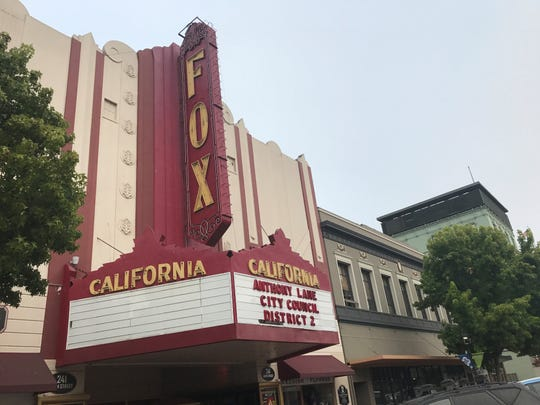 Fox Theater owner Anthony Lane advertises his bid for Salinas City Council District 2 in the theater's marquee.