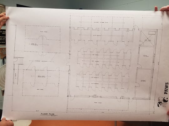 The floorplan for Concho Valley PAWS's two new buildings. The first building may be ready in two months.