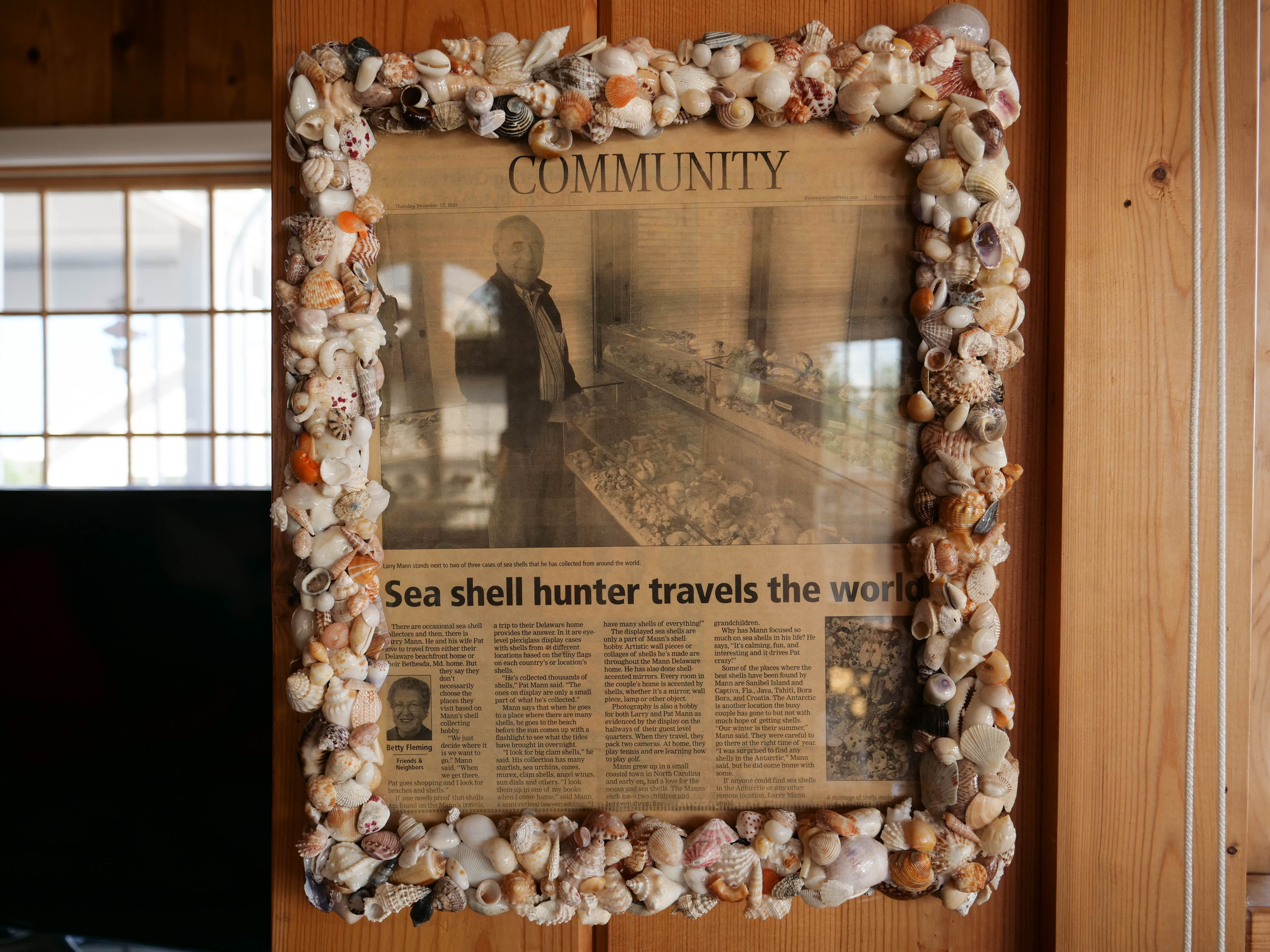 The Delaware Coast Press wrote about Larry Mann's seashell collection 10 years ago, when he'd traveled to a total of 48 locations. As of 2018, Mann has collected seashells from over 70 countries on all seven continents.