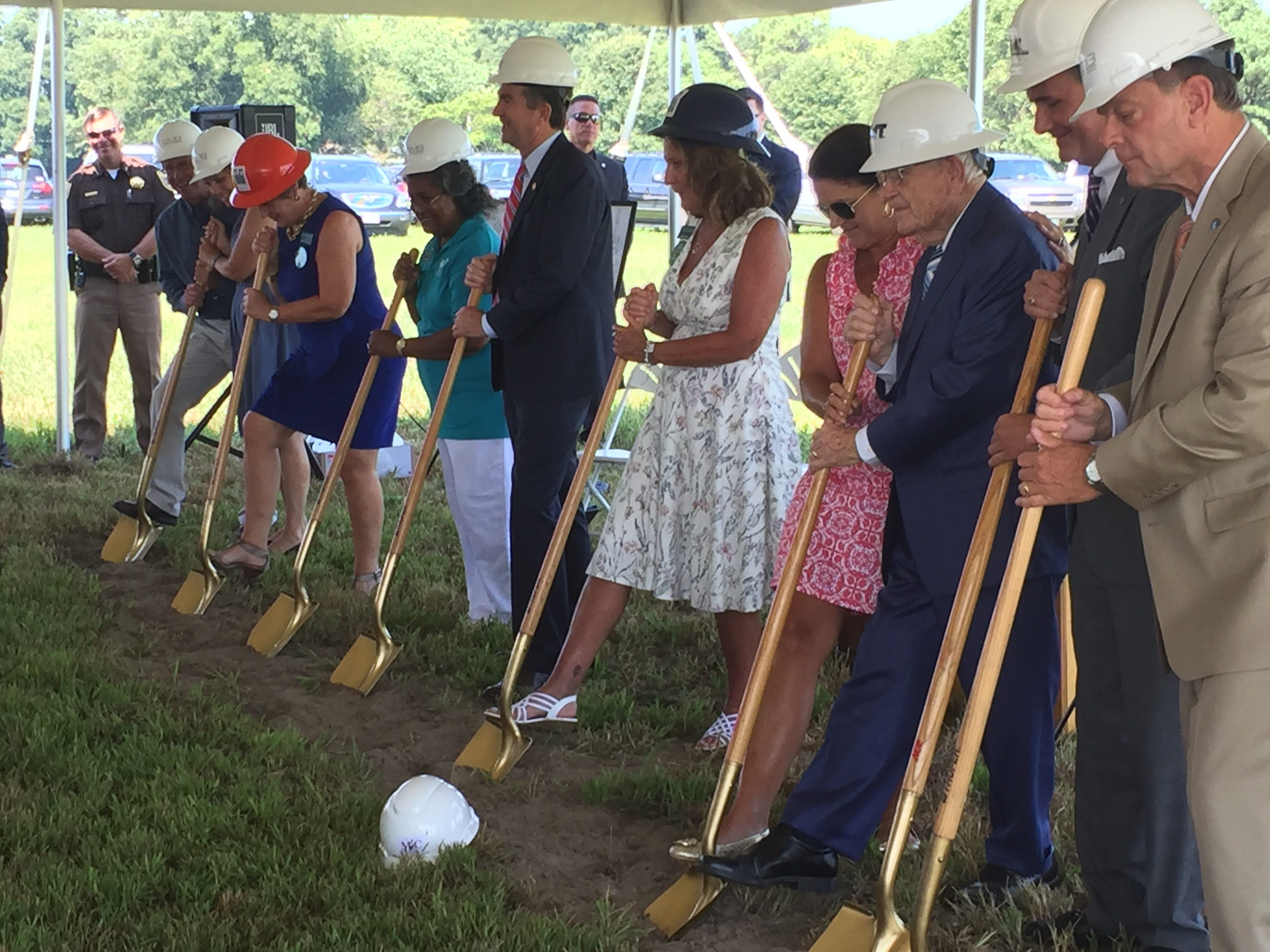 Officials break ground on Eastville Community Health Center during a ceremony in Eastville, Virginia on Wednesday, Aug. 15, 2018.