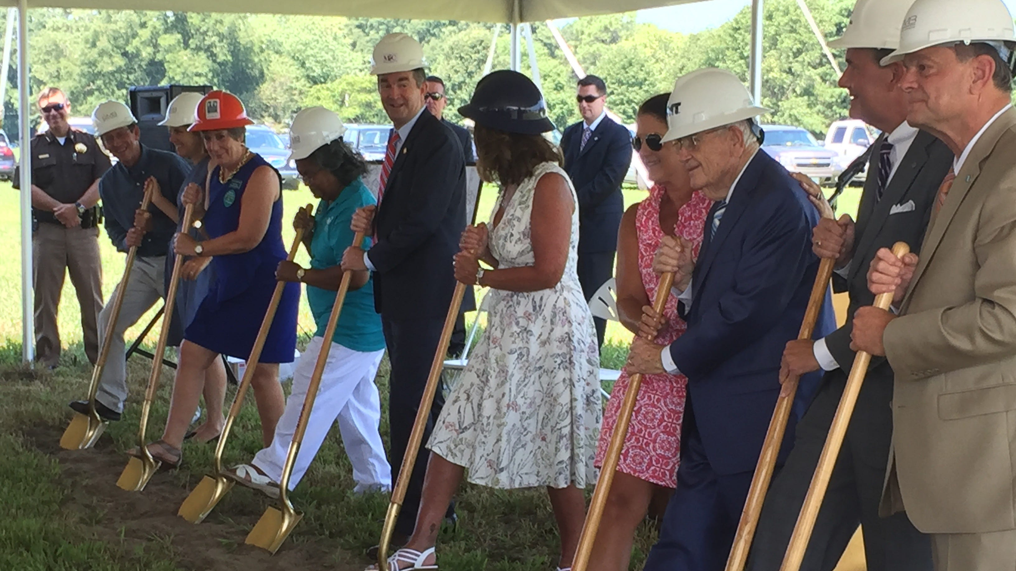 Officials break ground on Eastville Community Health Center during a ceremony in Eastville, Virginia on Wednesday, Aug. 15, 2018.