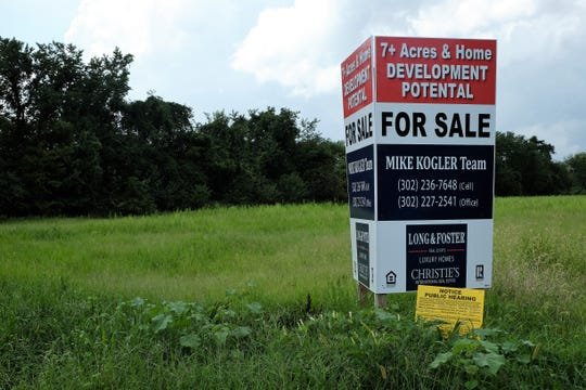 This 7.33 acre lot on Gills Neck Road in Lewes will likely becoming a 12-duplex development, after Sussex County Council approved a rezoning request and conditional use grant from Evergreene Companies LLC.