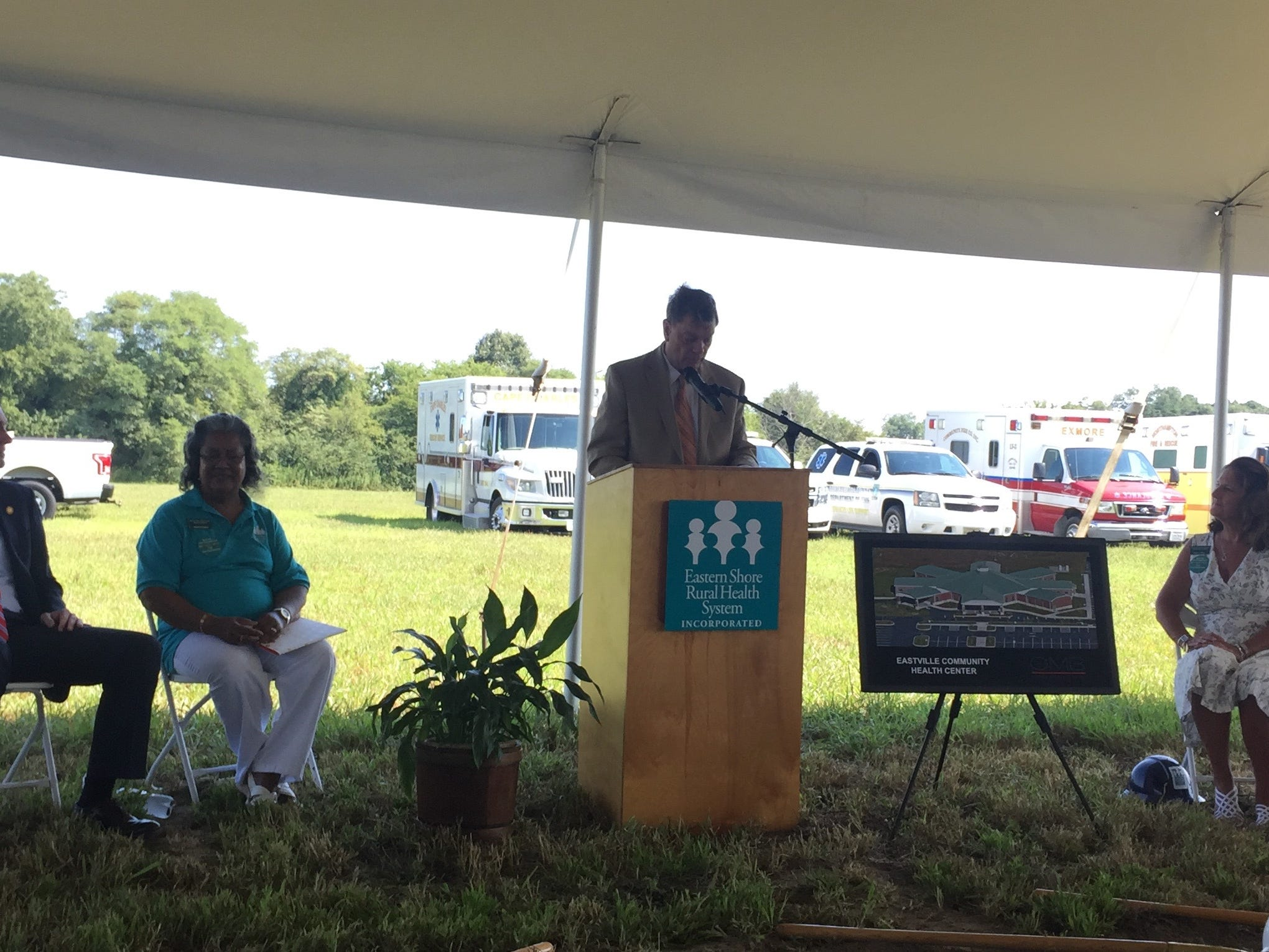 Spencer Murray, Northampton County Board of Supervisors Chairman, addresses the crowd during a groundbreaking ceremony for Eastville Community Health Center in Eastville, Virginia on Wednesday, Aug. 15, 2018.