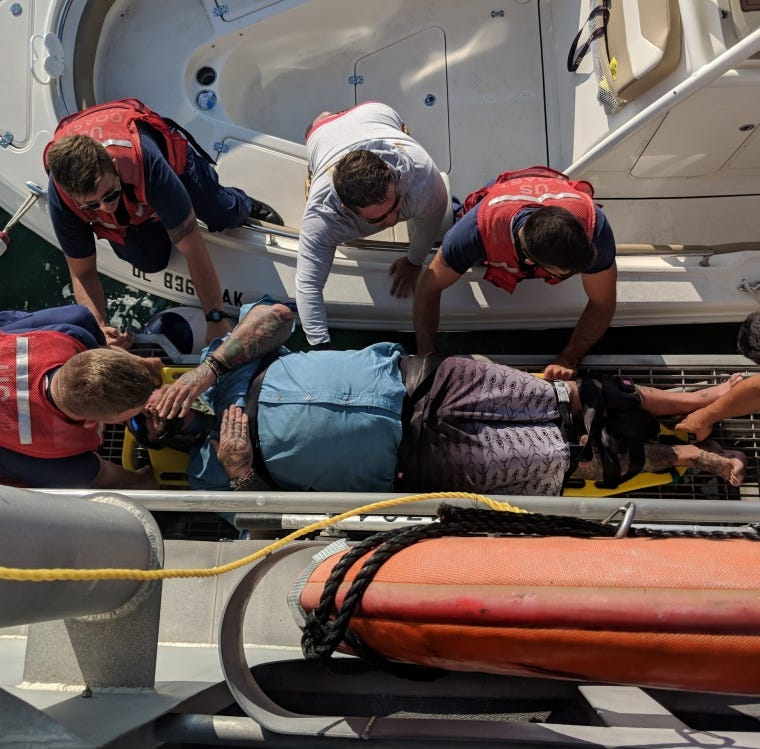 A 45-year-old man was rescued 8 miles off Fenwick Island Wednesday morning.