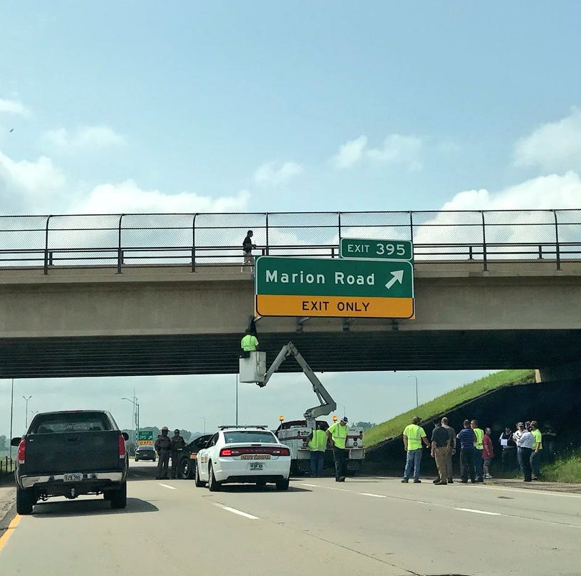 I-90 partially closed due to person jumping from Marion Road bridge