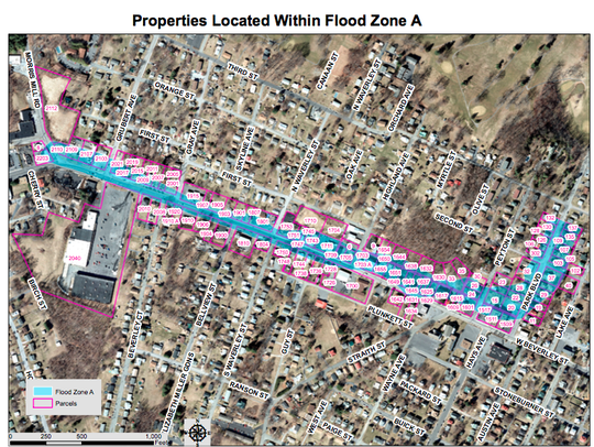 This map displays the properties in Flood Zone A the City of Staunton is going to study.