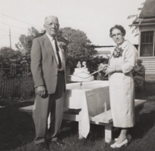 Henry and Amanda (Blonigen) Haehn, 45th wedding anniversary, 1961.