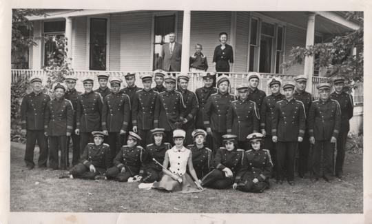 St. Martin Band with Henry Haehn as director, standing far left, 1950s.