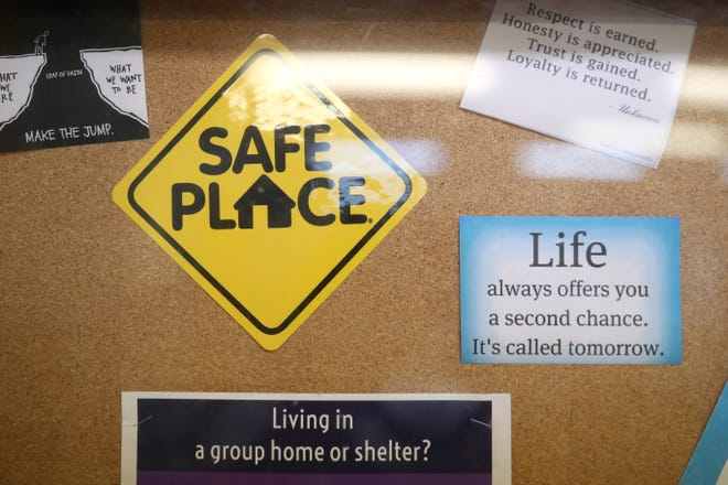"""Notes of encouragement line the walls at the Capital City Youth Services' Someplace Else Crisis Shelter where """"Julia"""" is staying in a shared dorm for a month. She has been accepted into the CCYS transitional living program and will begin her senior year of high school living in her own space on the CCYS campus."""