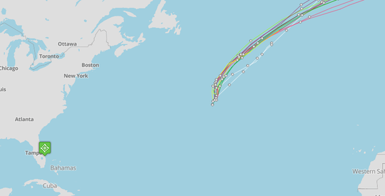 Subtropical Depression Five forms in Central Atlantic Aug. 15, 2018.