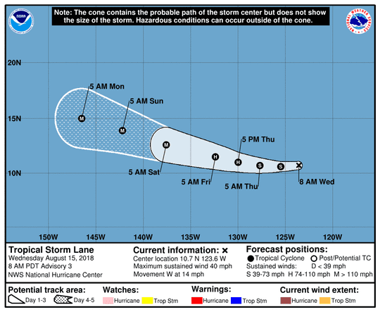 Tropical Storm Lane 11 a.m. Aug. 15, 2018
