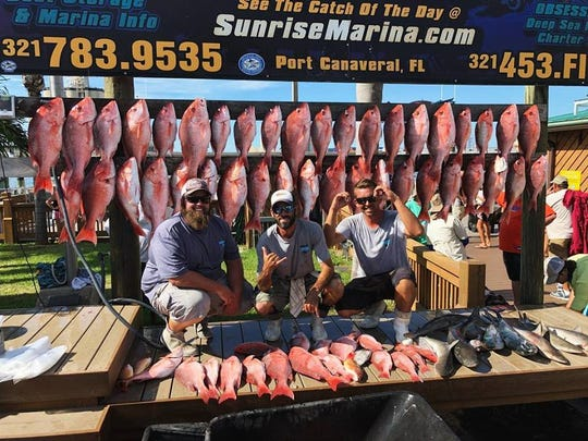 Anglers aboard Obsession Charters out of Sunrise Marina in Port Canaveral scored their limits of red snapper.