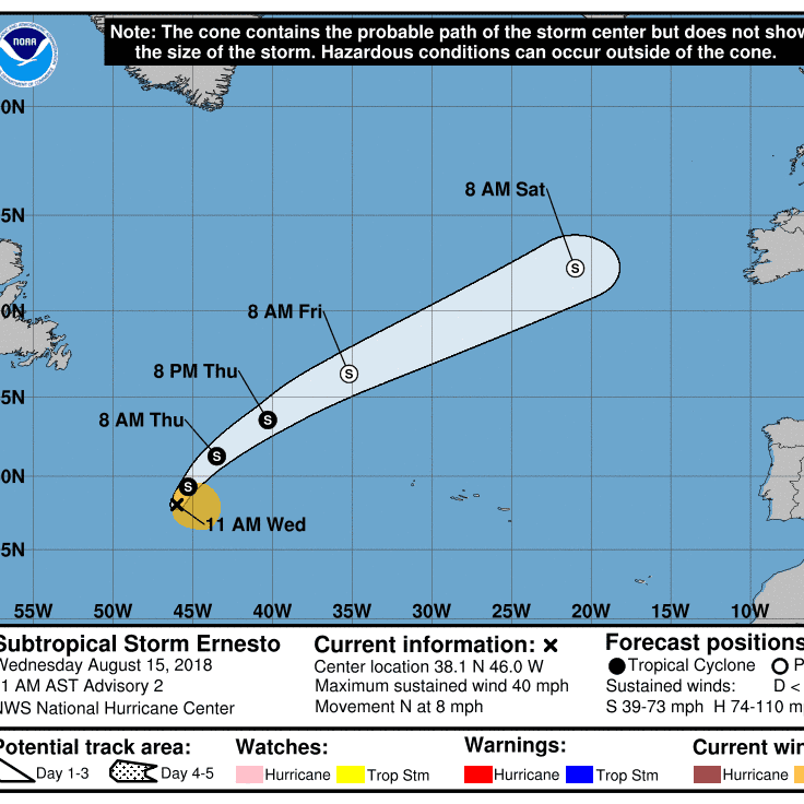 Subtropical Storm Ernesto forms in Atlantic as 5th named storm of Atlantic hurricane season
