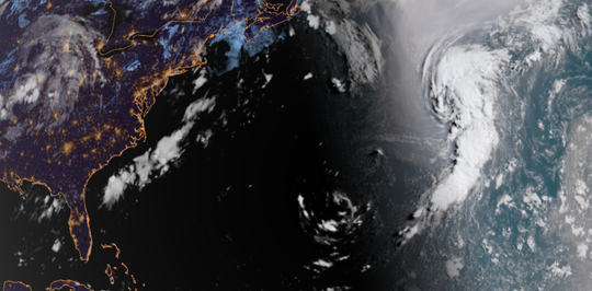 Satellite image of Subtropical Depression Five over the Atlantic Aug. 15, 2018.
