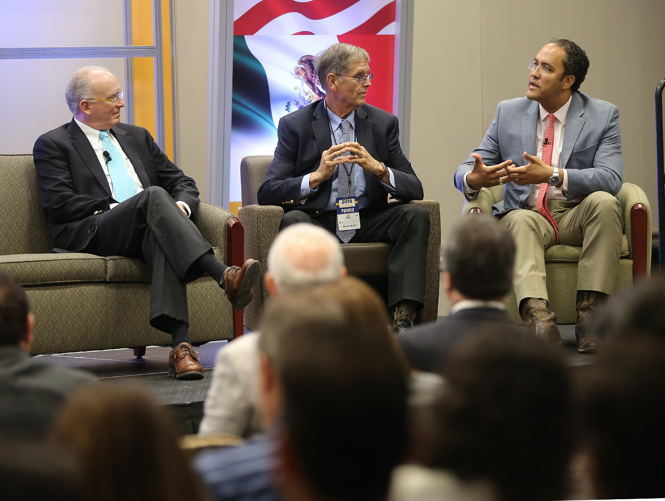 U.S. Rep. Will Hurd, right, talks about NAFTA with fellow panelists Kent Walz, center, Senior Editor of the Albuquerque Journal and Matthew Rooney, Director of Growth for the George W. Bush Institute, during the U.S.-Mexico Border Summit Wednesday in El Paso.