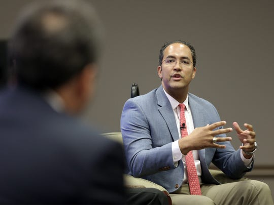 U.S. Rep. Will Hurd discusses NAFTA during the U.S.-Mexico Border Summit at the Judson F. Williams Convention Center.