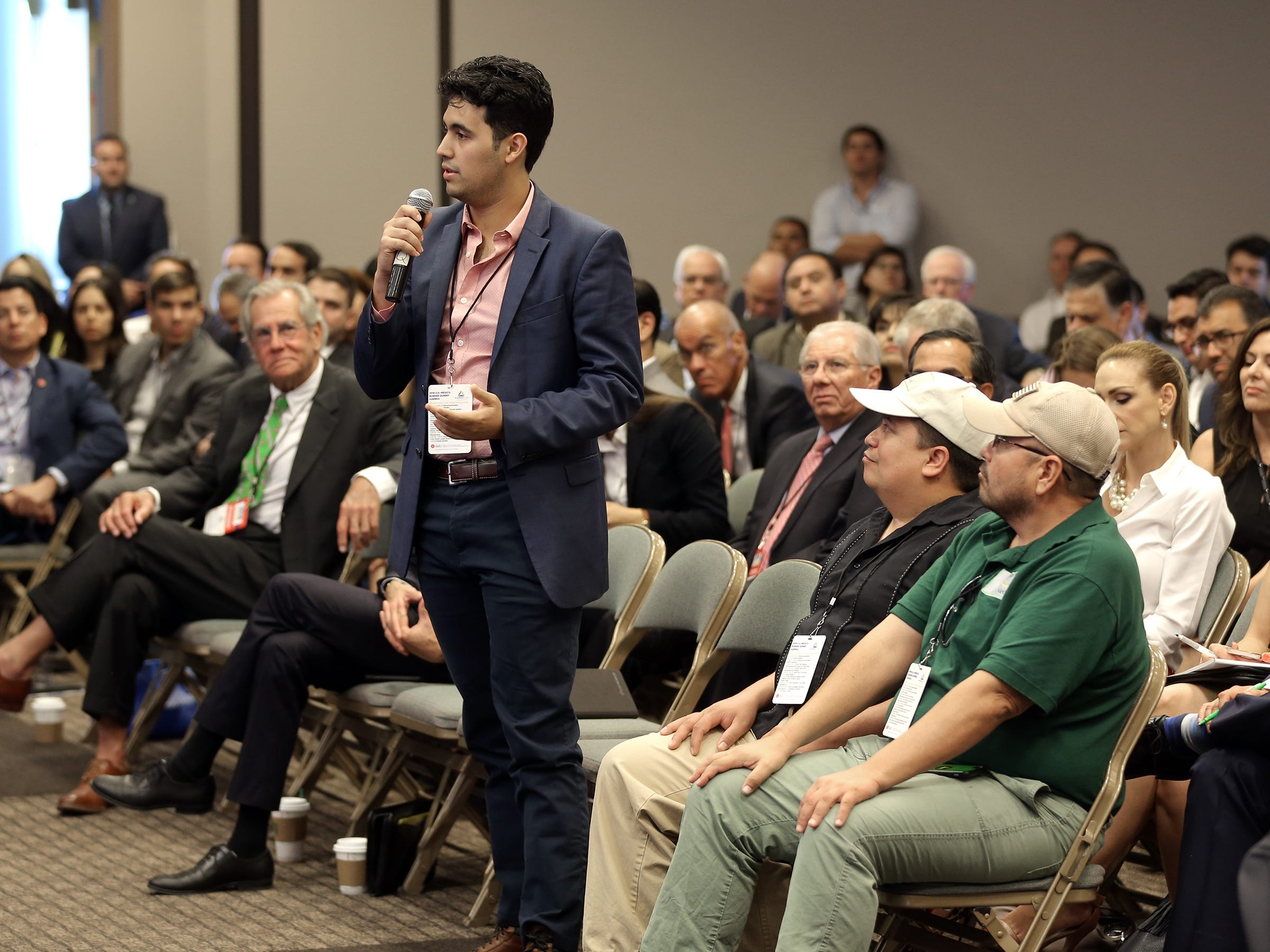 Audience members are given a question an answer period at the U.S.-Mexico Border Summit Wednesday.