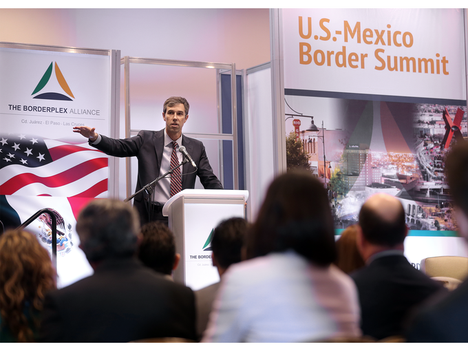 U.S. Rep. Beto O'Rourke stopped by the U.S.-Mexico Border Summit Wednesday to speak to attendees at The Borderplex Alliance sponsored event.