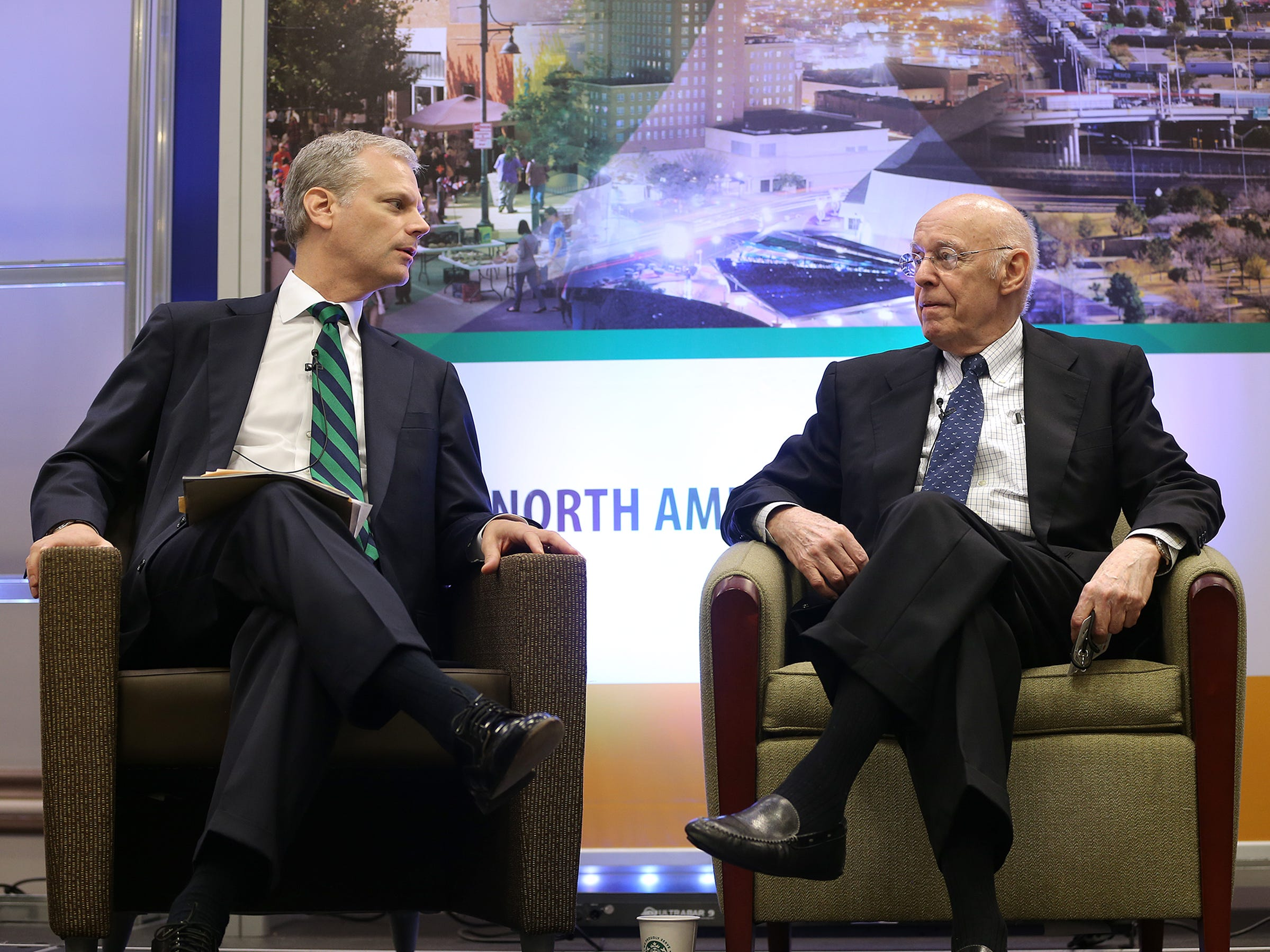 Council of the Americas Vice President Eric Farnsworth interviews James R. Jones, Chairman of Monarch Global Strategies LLC and former U.S. Ambassador to Mexico and member of the U.S. House of Representatives to open the U.S.-Mexico Border Summit Wednesday at the Judson F. Williams Convention Center.