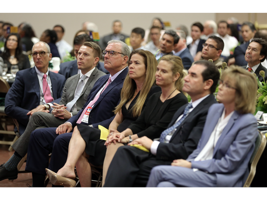 Dignitaries listen to a speech by former Mexican President Ernesto Zedillo at the U.S.-Mexico Border Summit on Wednesday.