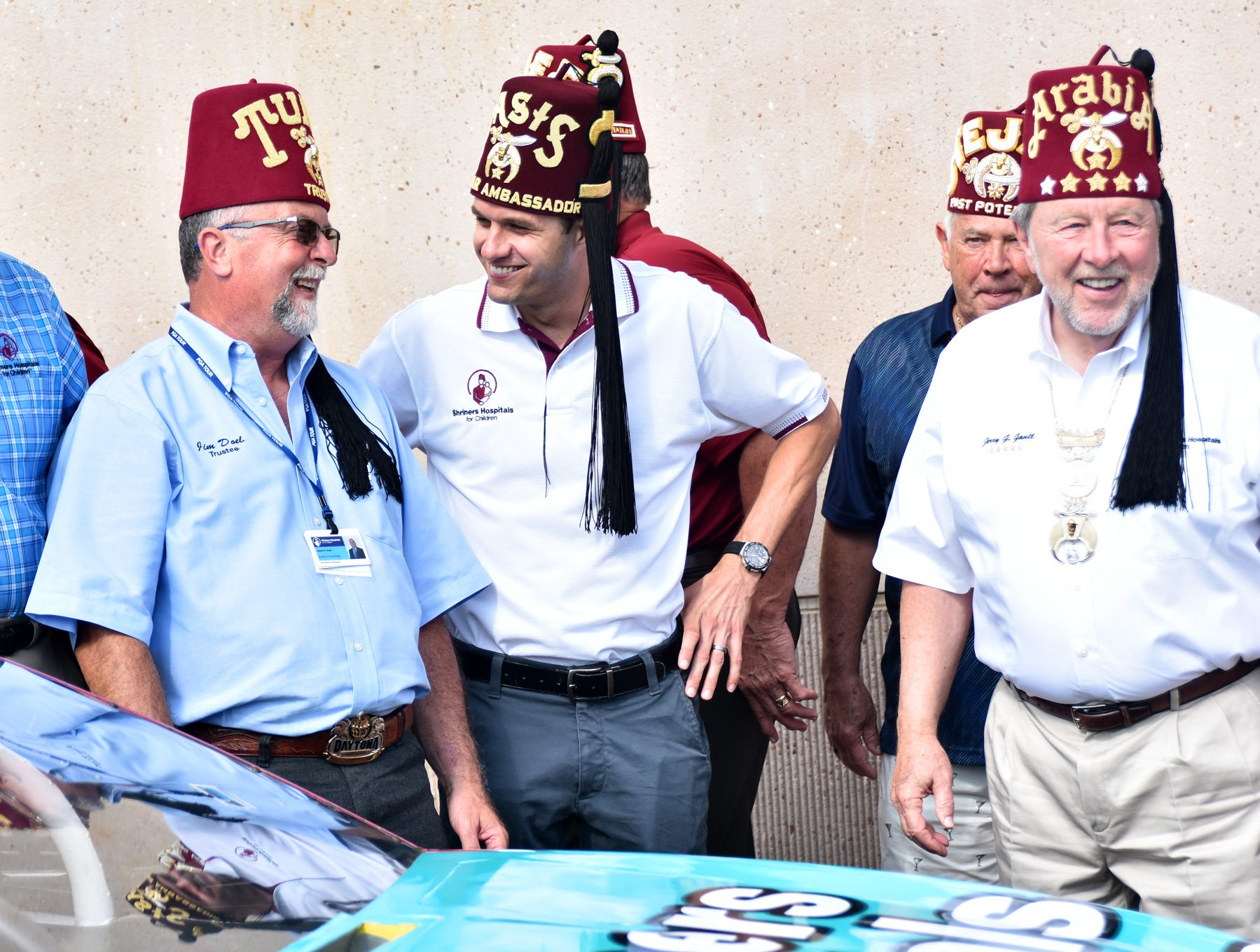 NASCAR driver  and Shriner David Ragan talks with local shriners at the Shriners Hospital for Children in Greenville on August 15, 2018.