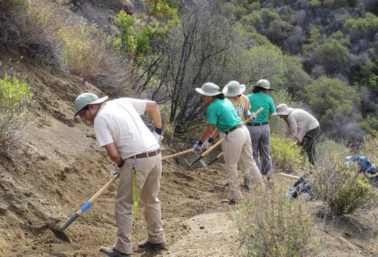 Interns spent some of the summer maintaining trails in the Santa Monica Mountains.
