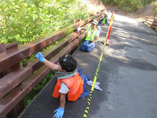 Amelia Realzola, Carmen Lopez-Ramirez painted a bridge at Solstice Canyon.