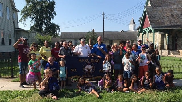 MILLVILLE - Some children in Millville will go back to school with new backpacks courtesy of Millville Elks Lodge No. 580. Arleen Hickman, Exalted Ruler, Millville Elks Lodge No. 580; Bill Meischke, vice president, South District, Elks; Jody Farabella, chief, Millville Police Department; and Rich Kott, coordinator, Millville Police Athletic League, participated in the distribution of the backpacks.