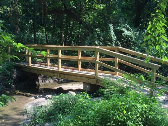 Greenburgh Boy Scout Hari Channagiri's bridge at East Rumbrook Dog Park.