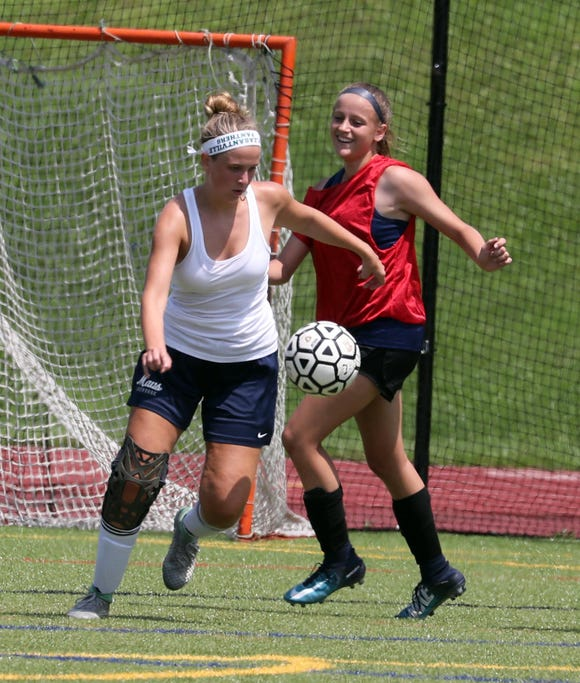 Lyndsey Minerva, controlling the ball, and Allison Portera, practice together with the Pleasantville High School varsity soccer team Aug. 15, 2018. Minerva is a returning senior captain, and Portera is playing for Pleasantville for the first time after transferring from Valhalla High School.