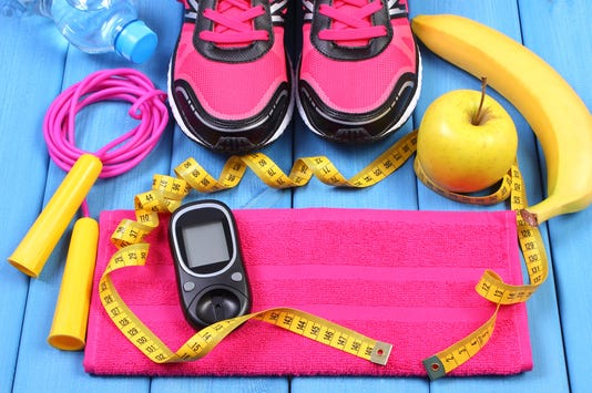 Glucometer Sport Shoes Fresh Fruits And Accessories For Fitness