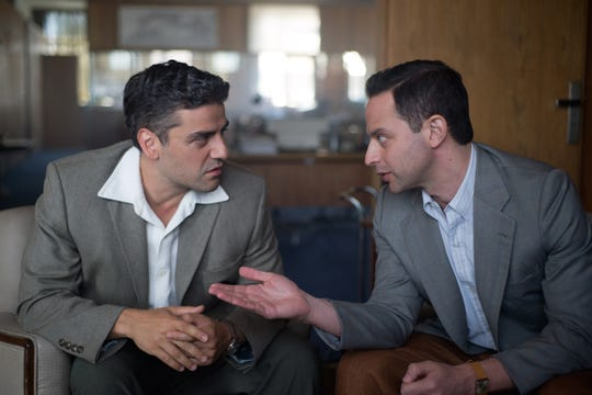 """Oscar Isaac (left) stars as Peter Malkin and Nick Kroll (right) stars as Rafi Eitan in """"Operation Finale,"""" written by Matthew Orton and directed by Chris Weitz, a Metro Goldwyn Mayer Pictures film."""