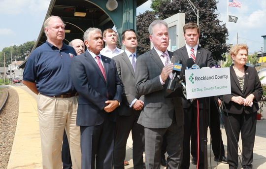 Rockland County Executive Ed Day and Rockland officials complain how bad NJ Transit is for Rockland riders at Pearl River Train Station on Aug.15, 2018.