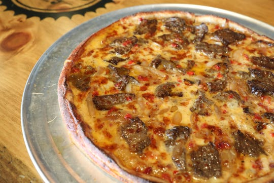The Deep Dish Cheese Steak pizza, with Wagu flap steak, and pimento cheddar cheese at Norcina Restaurant at 186 North Main Street in New City, Aug. 15, 2018.