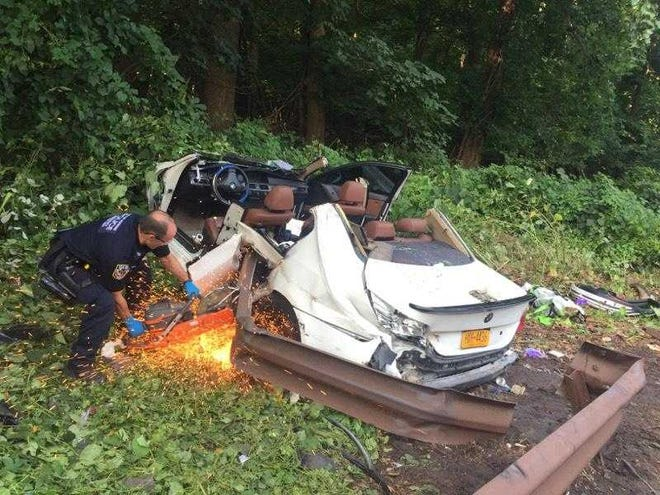 Yonkers police and fire departments extricated at least two people from a car after a bad accident on the Sprain Brook Parkway.