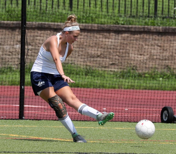 Lyndsey Minerva takes part in practice with the Pleasantville High School varsity soccer team Aug. 15, 2018. Minerva is a returning senior captain.