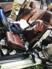 The car involved in the crash was severally damaged.
